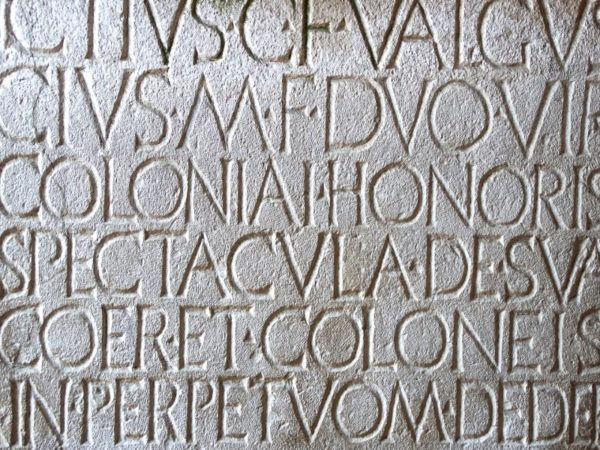 Latin Letters Engraved in Stone